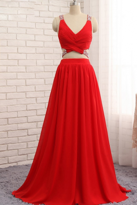 P1 Sexy Two Pieces Chiffon Beads Red Dresses,V Neck A Line Sleeveless Long Prom Gowns