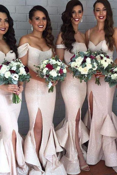 Custom Made Shimmery Sequin Floor Length Mismatched Mermaid Bridesmaid Dress with High Split