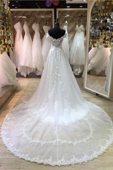 XW49 A Line Lace Wedding Dress with Overskirt,White Lace Bridal Dresses,Off the Shoulder Princess Style Wedding Dress