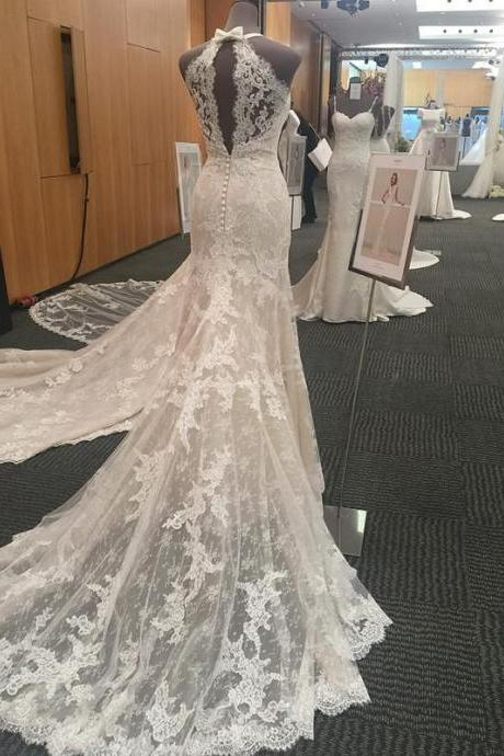 XW53 Halter Neck Open Back Lace Mermaid Court Train Wedding Dresses,Sexy Full Lace Mermaid Wedding Dress,Wedding Dress Lace