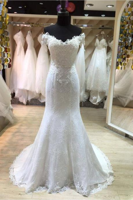 XW55 Mermaid Lace Wedding Dress,White Lace Bridal Dresses,Off the Shoulder Princess Style Wedding Dress,Off the Shoulder Lace Mermaid Wedding Dress,Sexy Lace Mermaid Bridal Dress