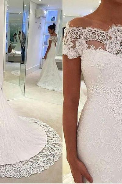 Off-the-Shoulder Lace Mermaid Wedding Dress with Short Sleeves and Train