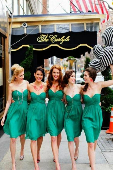 F62 Short Green bridesmaid dresses, chiffon bridesmaid dresses, Short bridesmaid dresses, Cute bridesmaid dresses, unique bridesmaid dresses