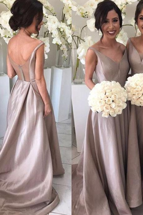 F88 Cute A-line Long V-neck Bridesmaid Dress with Train