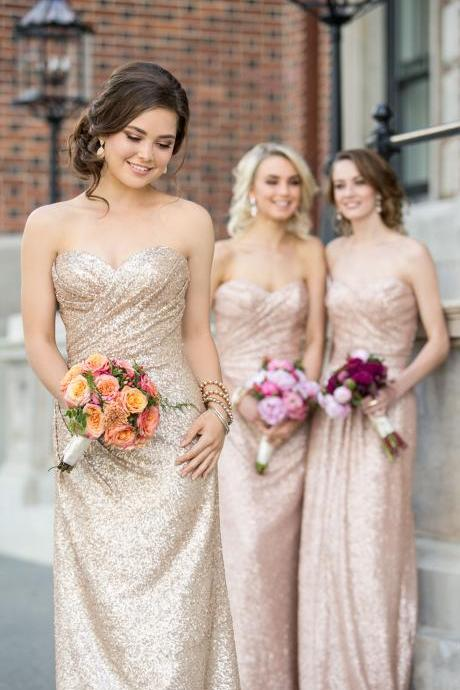 F98 Sparkly Strapless Rose Gold Long Sequins Bridesmaid Dress