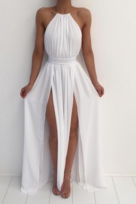 F112 White Chiffon Gold Necklace Halter Side Slit Maxi Long Prom Dress, Lace Up Party Dress