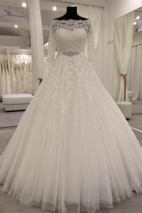 XW107 vintage wedding gowns,lace wedding dress,off the shoulder wedding dress,real sample wedding dress,princess bridal dress,long sleeves wedding dress