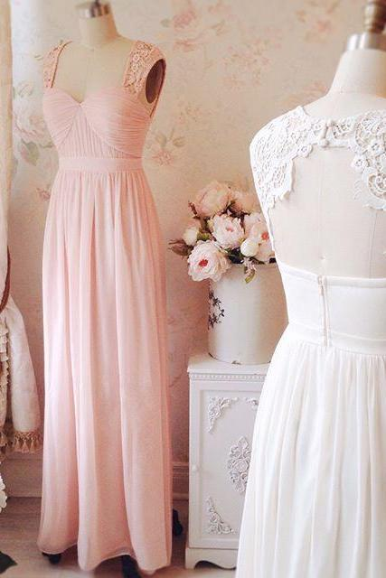 F140 Sweetheart Neck Lace Strap Prom Dress,Long Chiffon Cheap Bridesmaid Dress,Real Photo Dress