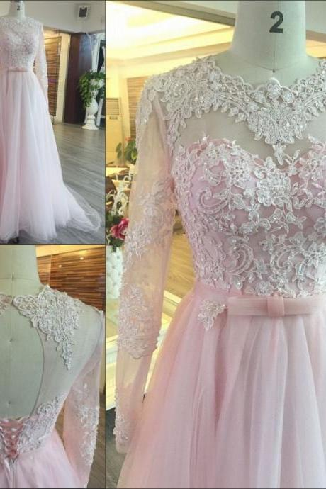 P8 Pink Appliques Long Sleeve Prom Dresses,Tulle Prom Dresses, Charming Prom Dress,Elegant Prom Dress,Long Evening Dress,Formal Dress,Pink Tulle Prom Dress with Long Sleeves