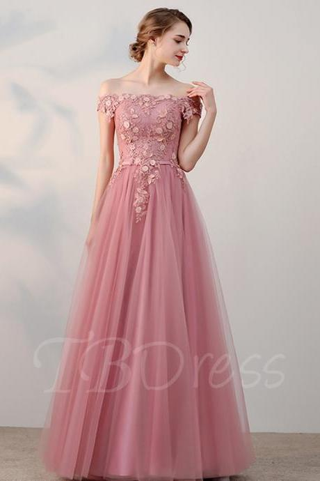 Floral Appliqués and Pearl Embellished Off-The-Shoulder Floor Length Tulle Formal Dress Featuring Lace-Up Back, Pink Prom Dress