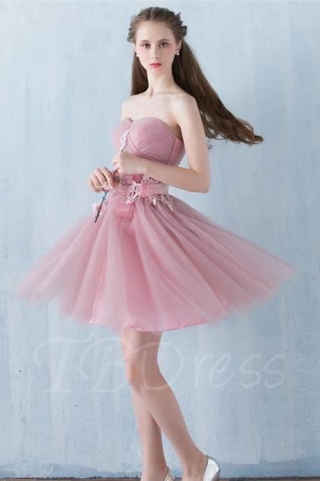 F168 A-Line Sweetheart Appliques Pleats Sashes Homecoming Dress,Strapless Bridesmaid Dress