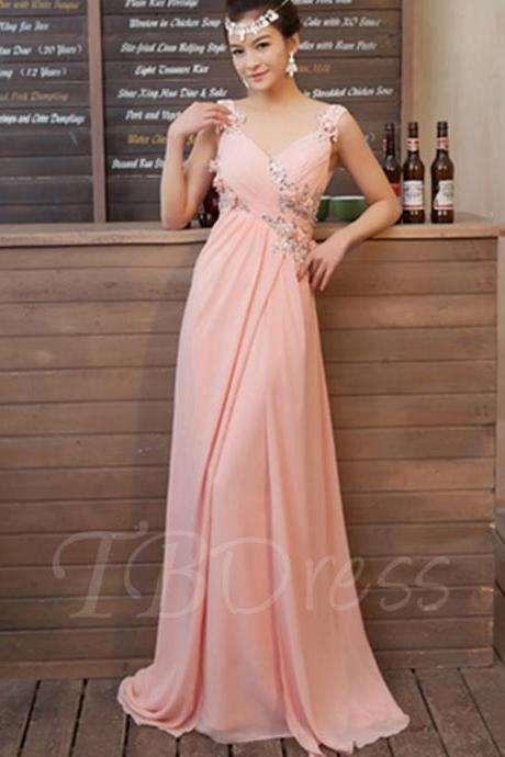 Sleeveless V-Neck Ruched Beaded A-line Long Prom Dress, Evening Dress, Bridesmaid Dress Featuring Cowl Back