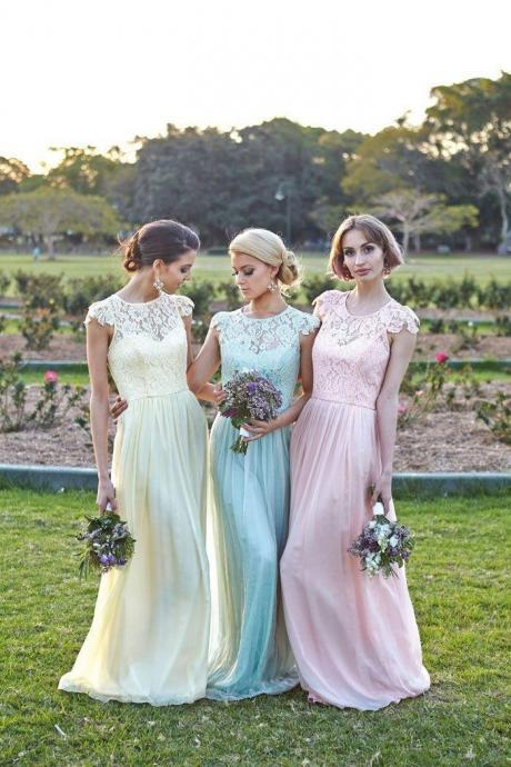F207 A-line Cap Sleeves Lace Bridesmaid Dress Floor Length Yellow Blue Pink Lace Long Bridesmaid Dresses Wedding Party Dress