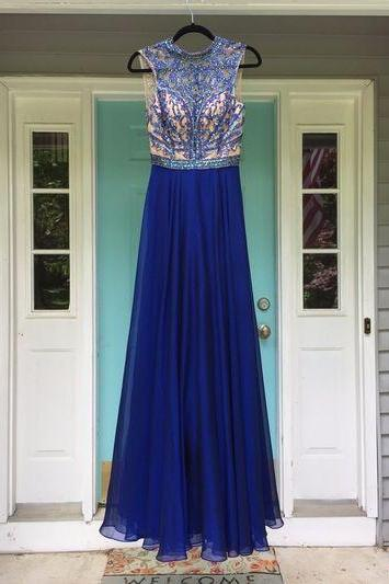 Royal Blue Halter Sheer Beaded Chiffon A-line Long Prom Dress, Evening Dress with Keyhole Back