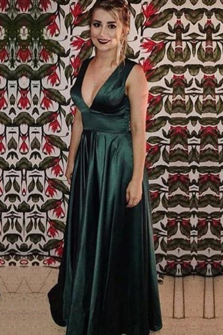 Dark Green Sleeveless Plunging V Satin A-line Floor-Length Prom Dress, Evening Dress