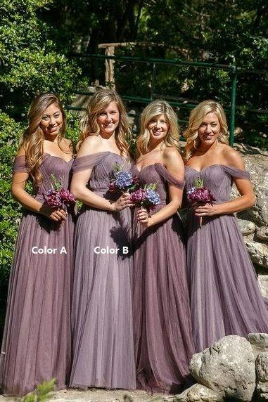 Purple Off Shoulder Tulle Long A Line Bridesmaid Dress