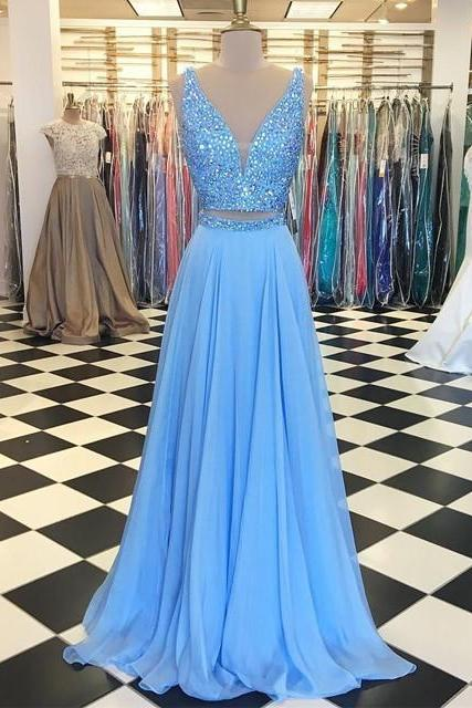 Baby Blue Prom Dresses,Two Piece Prom Dress,Chiffon Prom Gowns,Two Piece Long Chiffon Beading Prom Dress,A Line Long Chiffon Beading Evening Dress