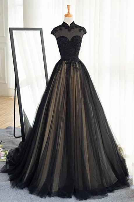 black tulle lace long prom dress, black tulle evening dress,high neck long black tulle prom dress,a line long tulle black lace evening dress,high neck long tulle lace prom dress