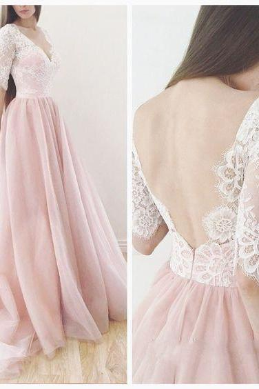 Blush pink prom dress, V-neck prom dress,lace long sleeves prom dress,tulle long prom gowns,Deep V Neck Long Pink Tulle Prom Dress,A Line Long Tulle Pink Lace Prom Dress