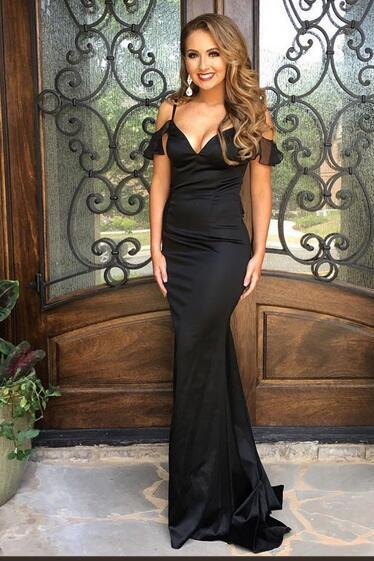 Black Cold-Shoulder Mermaid Satin Long Prom Dress, Evening Dress, Formal Gown