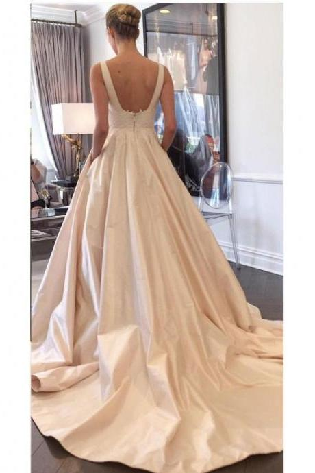 A-line Long Satin with Pocket Chapel Train Simple Wedding Dresses Backless Light Champagne Bride Wedding Dress with lace appliques