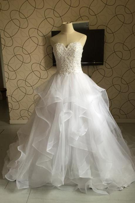 Ball Gown Top Beaded Pearls Long Tulle Wedding Dress,Top Lace Ball Gown Tiered Tulle Wedding Dress with Pearls