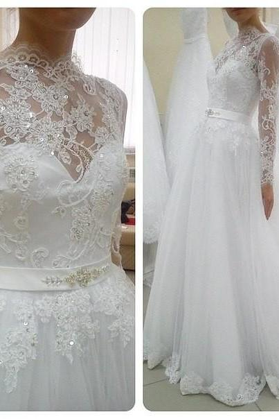 Long Sleeves White Lace Wedding Dresses A-line Tulle Bridal Gowns,A Line Long Sleeves Lace Wedding Dress,Long Sleeves Lace Bridal Dress