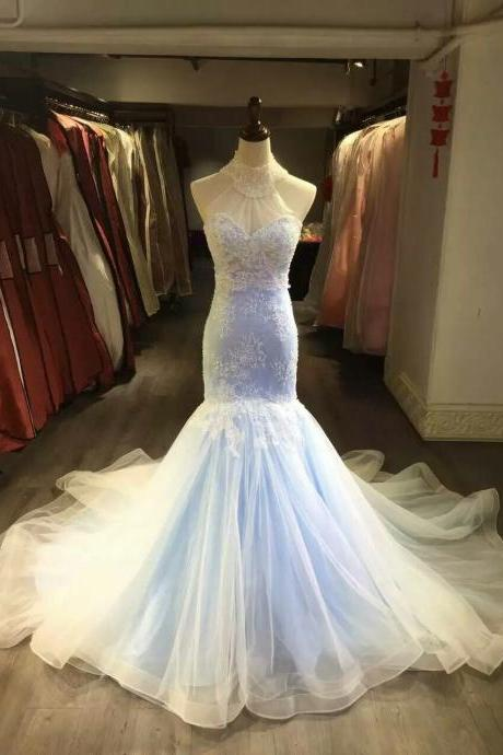 Mermaid Lace Wedding Dress,Colorful Bridal Dress,Halter Neckline Mermaid Light Blue Wedding Gown,High Neck Long Mermaid Sexy Wedding Dress