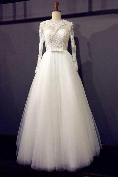 Scalloped Neck Illusion A-line Long Wedding Dress, Lace-up Long Sleeves White Bridal Gown, Key Hole Floor Length Tulle Wedding Dress
