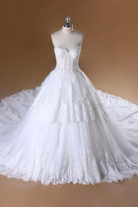 Strapless Sweetheart Corset Lace Princess Ball Wedding Gown with Chapel Train,Ball Gown Lace Wedding Dress