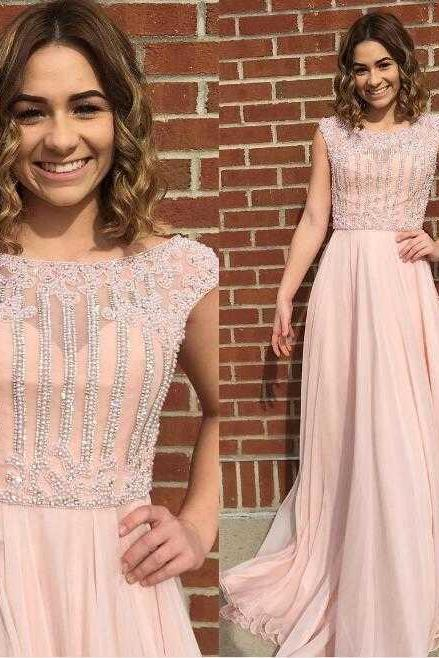 F296 Cheap prom dresses ,New Arrival Cap Sleeves Beaded Long Light Pear Pink Prom Dresses Evening Dresses with Beading for Women