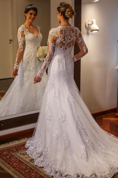 lace mermaid wedding dresses ,Long Sleeves Trumpet Lace Wedding Dress with Deep V Neck,sexy lace mermaid bridal dress with long sleeves