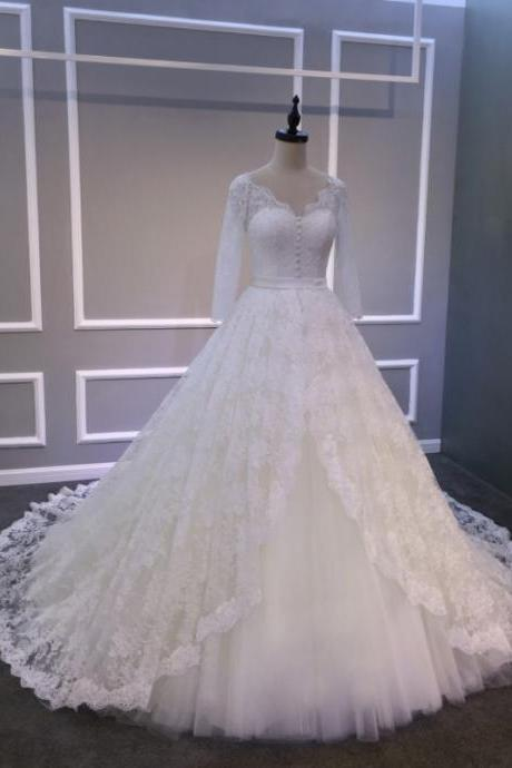 Ball Gowns Ivory Long Lace Tulle Wedding Dresses,V Neck Long Sleeve Bridal Gowns,Cheap Wedding Dress,Custom Bridal Dress,Long Sleeve Lace Ball Gown Wedding Dress