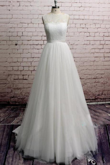 Sleeveless Illusion Lace Appliqués Tulle A-line Wedding Dress Featuring Sheer Back and Train