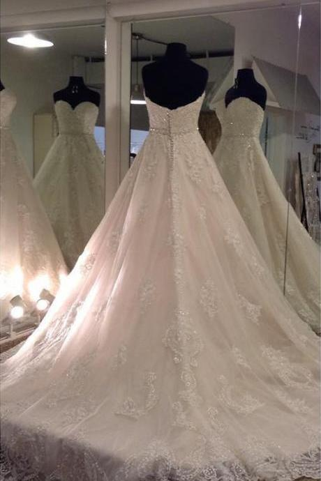 lace appliques sweetheart princess wedding gowns dresses 2018 custom made,A Line Long Lace Wedding Dress,A Line Long Lace Bridal Dress,Princess Long Lace Wedding Dress