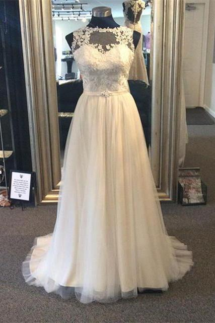 sheer scoop neckline lace appliques long tulle wedding gowns beach 2017,top lace a line long tulle lace beach wedding dress