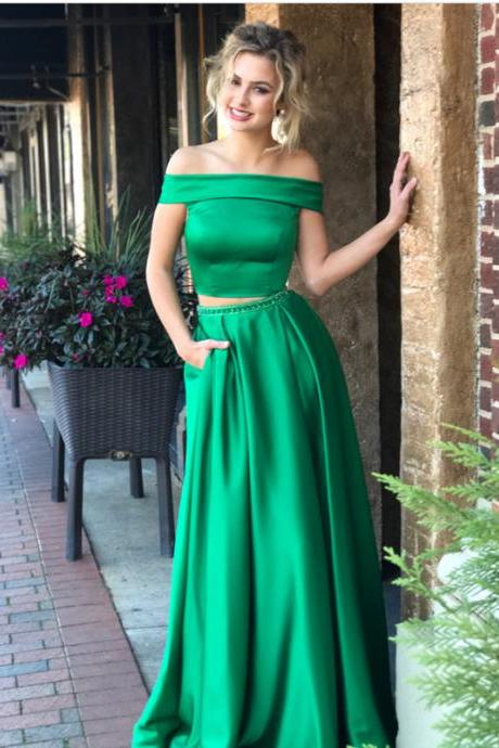 hunter green prom dress,two piece prom dress,satin evening dress,simple prom dresses,off the shoulder long green satin evening dress,long two piece green satin prom dress