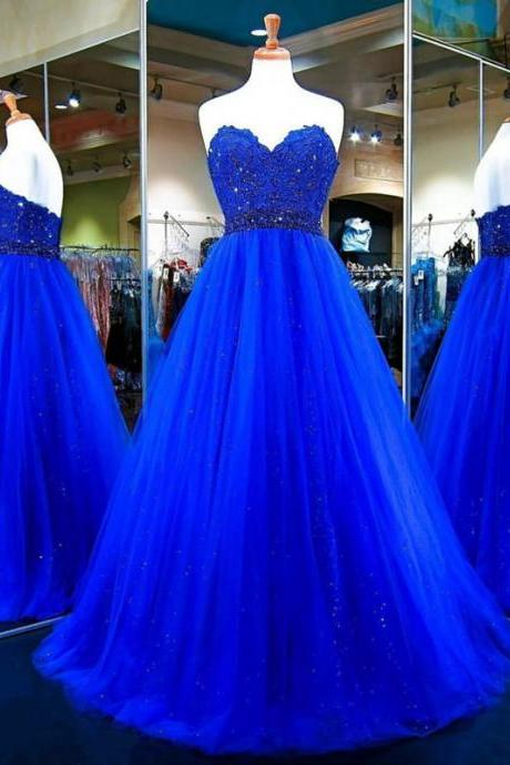 Royal Blue Strapless Sweetheart Lace Beaded Tulle Ball Gown Prom Dress, Evening Dress
