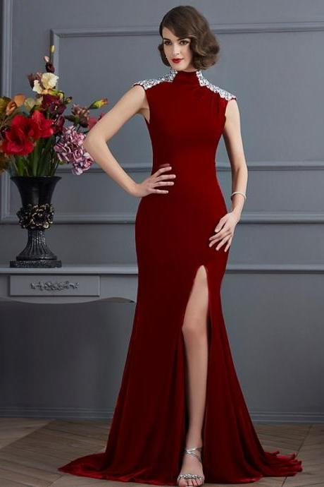 High Neck Mermaid Long Prom Dress, Evening Dress with Cap Sleeves, Side Slit, Open Back and Sweep Train