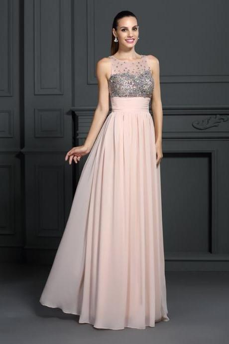 Bateau Sleeveless Sheer Beaded Chiffon Floor-Length A-line Prom Dress, Evening Dress Featuring Sheer Back