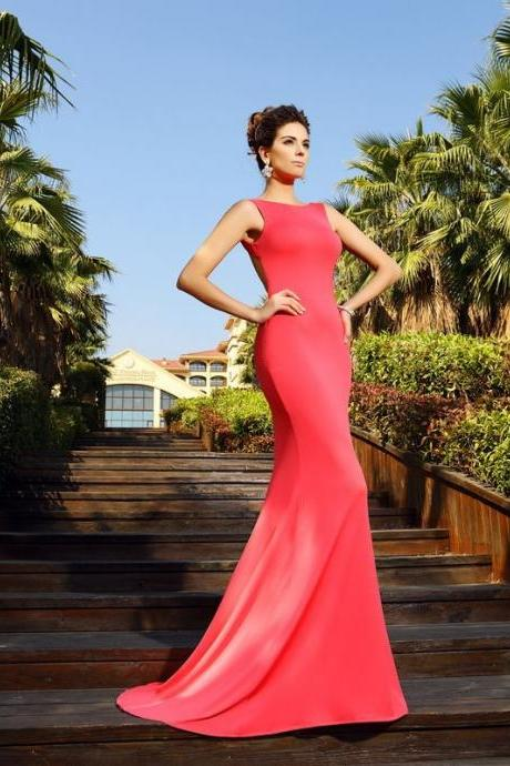 F383 Mermaid Bateau Sleeveless Court Train Spandex Dresses