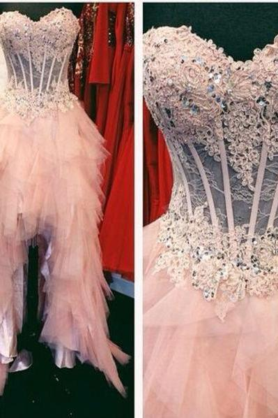 F390 High Low Pink Beads Prom Dresses,Prom Dress,Real Photos High How Short Wedding Dress