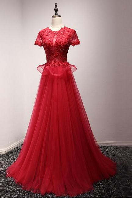 O Neck Red Tulle Long Prom Dress with Appliques, Short Sleeve Formal Evening Dress,High Neck Red Lace Short Sleeve Prom Dress,A Line Long Red Tulle Lace Evening Dress