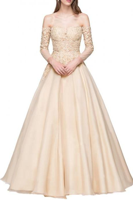 Champagne Off-the-Shoulder Lace Appliqués A-line Tulle Floor-Length Prom Dress, Evening Dress with Long Sleeves