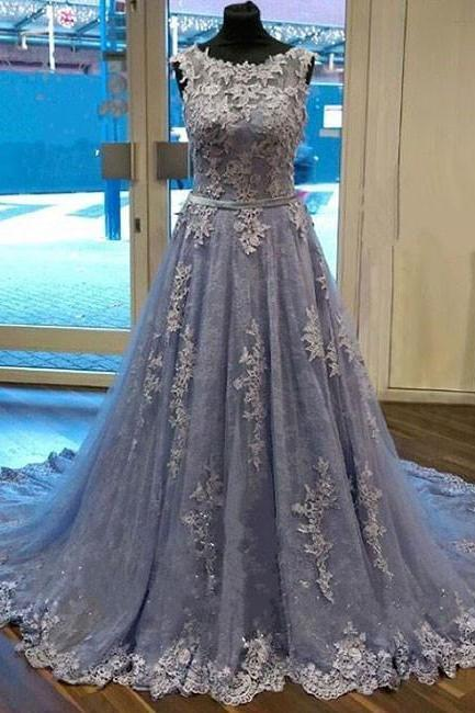 Unique Round Neck Lace Tulle Long Prom Dress, Lace Evening Dress, Dusty Blue Prom Dresses, Blue Lace Prom Dress, Modest Prom Dresses, Elegant Evening Dresses
