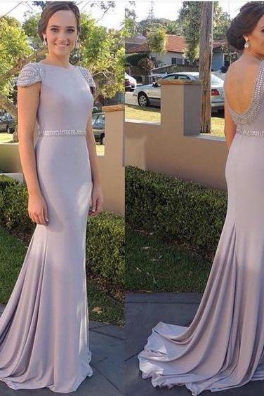 Bateau Mermaid Beaded Long Prom Dress, Evening Dress Featuring Open Back and Cap Sleeves