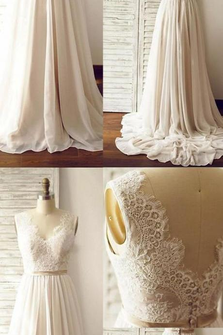 F413 Long Chiffon Beach Wedding Dresses,Ivory Wedding Dresses With Champagne Belt,Simple Cheap Lace Wedding Gowns,Bridal Dresses,Bridal Gowns,Dresses For Wedding DR0408