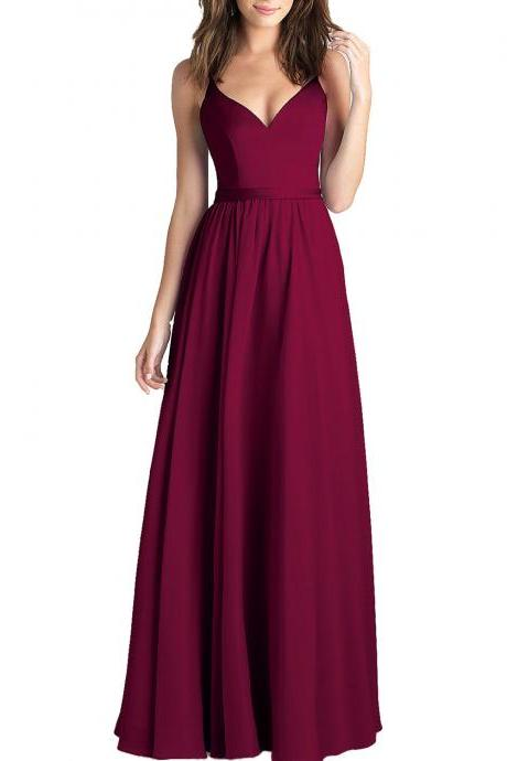 Custom Made Red V-Neckline Chiffon Floor Length Evening Dress, Prom Dress