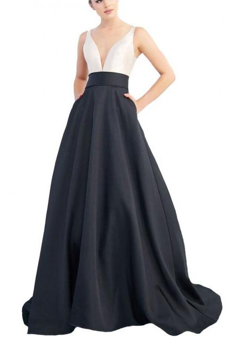 Custom Made Black and White V-Neckline Satin Floor Length A-line Evening Dress, Prom Dress