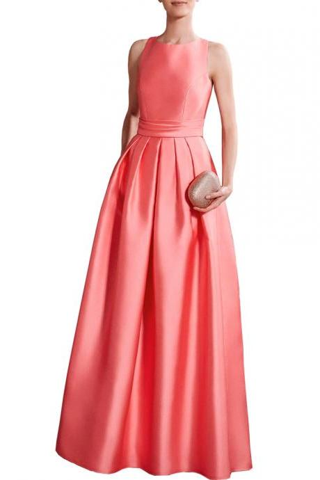 Custom Made Sleeveless Coral Pink Satin Floor Length A-line Evening Dress, Prom Dress